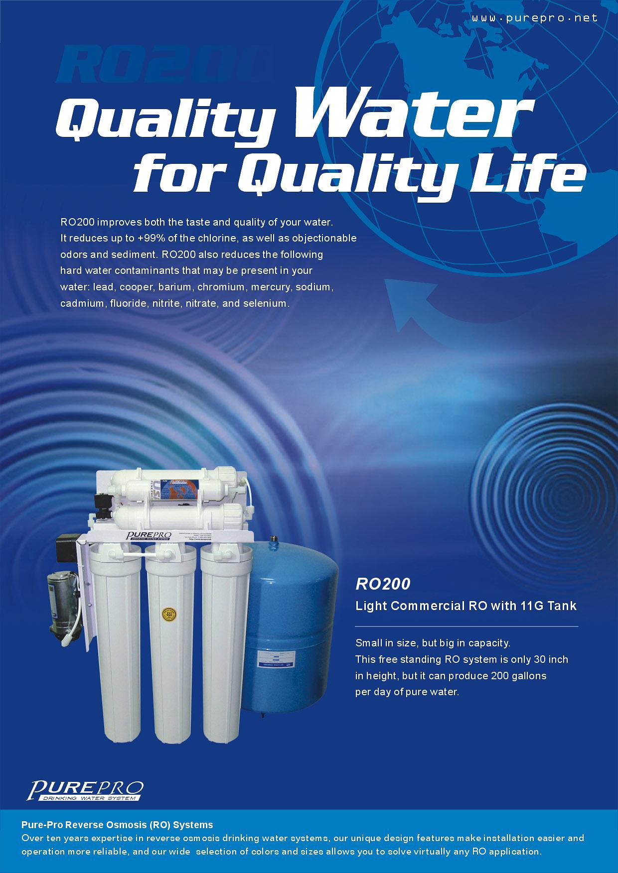 Purepro 174 Ro200 Ro 200 Reverse Osmosis Ro Water Filter System